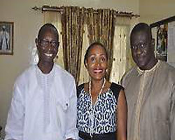 Momodou Joof, Sharon Parris-Chambers, Tombong Saidy in his office at Ministry of Tourism & Culture