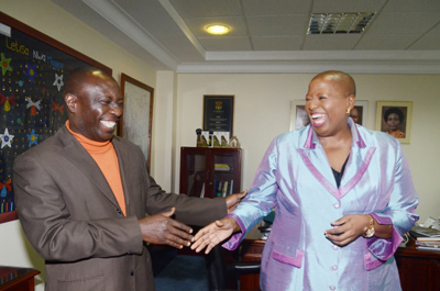 The High Commisioner to South Africa Kolike Koleka Mqulwana with Standard Digital news editor after an interview on new visa regimes for Kenyans. (PHOTO: DAVID OHITO/STANDARD)