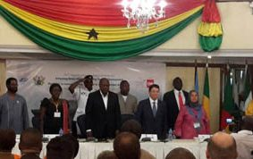 President Mahama opening the conference. Seated from left is Dr. M.A Ibrahim, Mr. Taleb Rifai, Mrs. Elizabeth Ofosu-Adjare and Alfred Okoe Vanderpuije in that order.